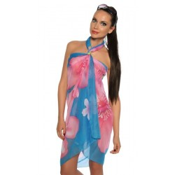 Blue pareo with pink flowers wholesaler DBH Créations
