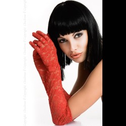 Gants dentelle rouge CR-3071 Chilirose grossiste DBH Creations