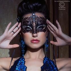 Masque noir en métal avec strass CR-3807 Chilirose grossiste DBH Creations