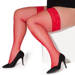 Christina red fishnet stockings XTra Size LeggStory wholesaler DBH Creations