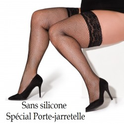 Christina black fishnet stockings for garter belt XTra Size
