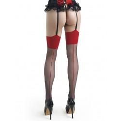 Sophia bas couture noir et rouge LeggStory grossiste DBH Creations