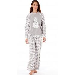 Chemise de nuit polaire blanche et grise