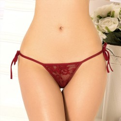 Burgundy lace thong wholesaler De Bas En Haut Creations