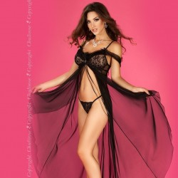 Babydoll longue noire CR-3716 Chilirose grossiste DBH Creations