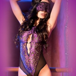Body dentelle violette CR-4075 Chilirose grossiste DBH Creations