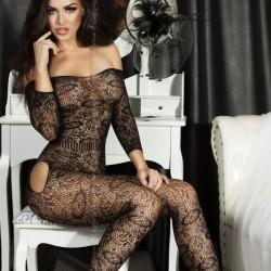 Bodystocking noir effet dentelle CR-3526 Chilirose grossiste DBH Creations