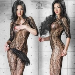 Bodystocking resille avec motifs floraux CR-3234 Chilirose grossiste DBH Creations