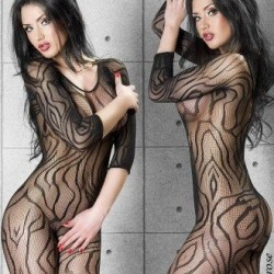 Bodystocking resille rayé CR-3237 Chilirose grossiste DBH Creations