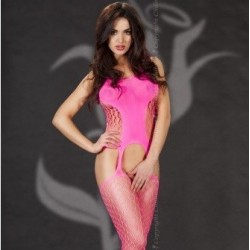 Bodystocking rose effet porte-jaretelles CR-3282 Chilirose grossiste DBH Creations