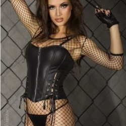 Black leather corset CR-3059 Chilirose wholesaler DBH Creations