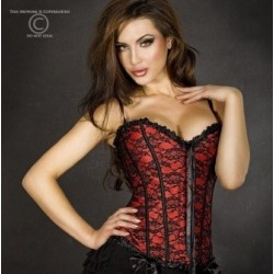 Corset rouge a broderies CR-3306 Chilirose grossiste DBH Creations