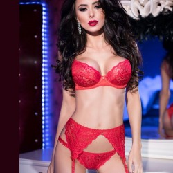 Red lace set CR-4192 Chilirose wholesaler DBH Creations
