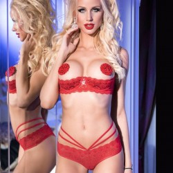 Red open bra set CR-3784 Chilirose wholesaler DBH Creations