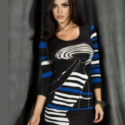 Robe noir imprimee bleu