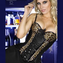 Satin leopard corset CR-3403 Chilirose wholesaler DBH Creations