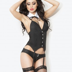 Black striped corset + stocking + collar CR-3793 Chilirose wholesaler DBH Creations