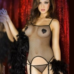 Black fishnet basque CR-3307 Chilirose wholesaler DBH Creations