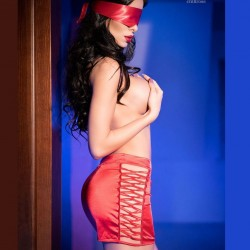 Red skirt + satin mask CR-4190 Chilirose wholesaler DBH Creations
