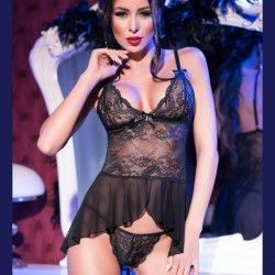Black sexy lace chemise CR-4163 Chilirose wholesaler DBH Creations