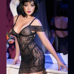 Black lace chemise CR-4161 Chilirose wholesaler DBH Creations