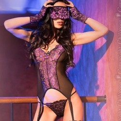 Corset with gloves and mask in black and purple lace CR-4077 Chilirose wholesaler DBH Creations
