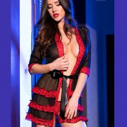 Black and red kimono CR-3850 Chilirose wholesaler DBH Creations