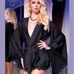 Kimono satin noir