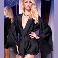 Black satin kimono CR-4112 Chilirose wholesaler DBH Creations