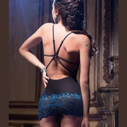 Black babydoll with blue lace CR-3843 Chilirose wholesaler DBH Creations