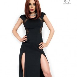 Robe longue noire CR-3858 Chilirose grossiste DBH Creations