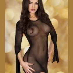 Robe noire en résille avec manches