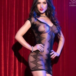 Fishnet dress with zig zag patern CR-4052 Chilirose wholesaler DBH Creations