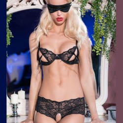Black sexy lace set with mask CR-4193 Chilirose wholesaler DBH Creations