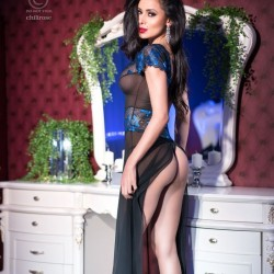 Black long chemise with blue lace CR-4196 Chilirose wholesaler DBH Creations