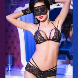 Black lace set with mask and mittens CR-4171 Chilirose wholesaler DBH Creations