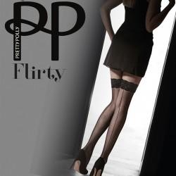 Bas coutures noirs avec jarretière en velours PNAVR7 Pretty Polly grossiste DBH Creations