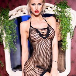 Black fishnet dress CR-4229 Chilirose wholesaler DBH Creations
