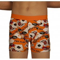 Boxer poker orange grossiste DBH Créations