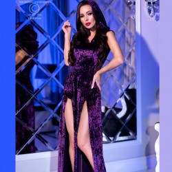 Purple splited velvet dress CR-4302 Chilirose wholesaler De Bas En Haut Créations