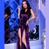 Robe fendue velours violet