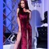 Burgundy splited velvet dress
