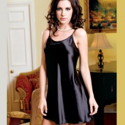 Black satin nightdress