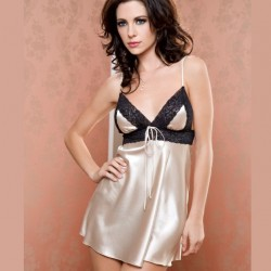 Satin black and gold babydoll ICollection wholesaler DBH Créations