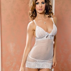 Nuisette voile et dentelle blanc ICollection grossiste DBH Créations