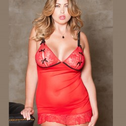 Nuisette voile rouge Grande Taille ICollection grossiste DBH Créations