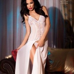 Nuisette blanche longue fendue CR-3470 Chilirose grossiste DBH Creations