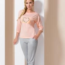 Grey and pink pyjamas with heart