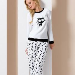 White pyjamas with cats