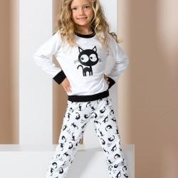 White junior pyjamas with cats